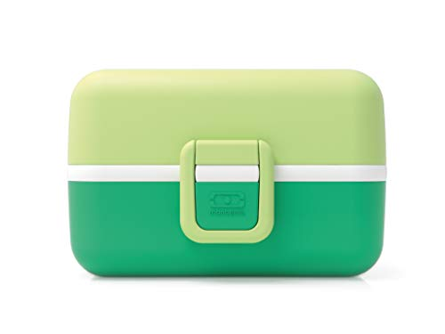 monbento - MB Tresor Apple Green bento Lunch Box for Kids - 3 Compartment for School Lunch and Snack Packing - BPA Free & Food Grade Safe Food containers
