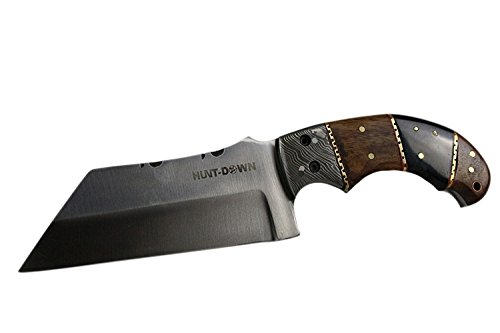 9-Huntdown-Full-Tang-Tanto-Blade-Hunting-Knife-with-Wood-Handle-and-Leather-Sheath