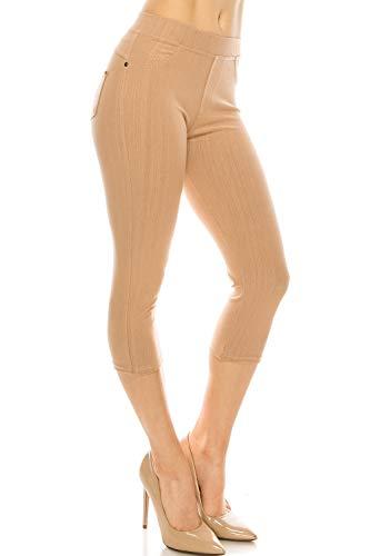 ShyCloset Basic Skinny Jeggings Pants - Skinny Slim Fit Jean Stretch Leggings (Regular/Plus Size) (ONE, Capri - Khaki) - Khaki Capri Jeans
