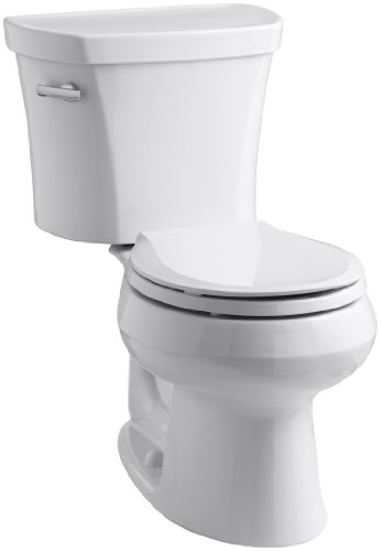 Kohler K-3947-0 Wellworth Round-Front 1.28 gpf Toilet, 14-inch Rough-In, White