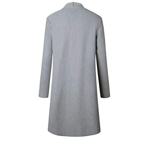 Manica Glamorous Semplice Cappotto Autunno Monocromo Giacca Lunga A Casual Donna Invernali Irregolare Maglia Vintage Grau Cardigan Outerwear Moda Eleganti Festiva xvafFwOq