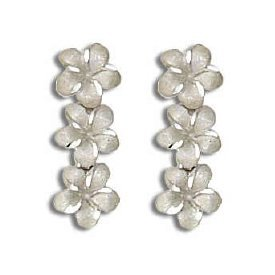- 14K White Gold 3 Dangling Plumeria Flower Stud Pierce Earrings