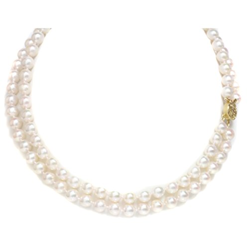14K Gold Japanese Akoya Saltwater White Pearl Necklace - Double Nested 18