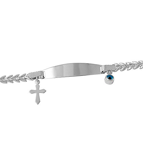 Fine 14k Gold Religious Cross Baby ID Bracelet with Evil Eye 6'' by Evil Eye by Jewelry America