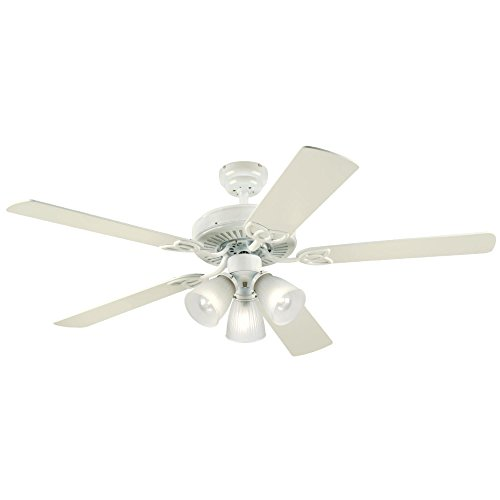 Westinghouse Lighting 7862720 Vintage Three-Light 52-Inch Reversible Five-Blade Indoor Ceiling Fan, White with Frosted Ribbed Glass Shades ()