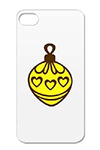 Christmas Ball Ornament Yellow Holidays Occasions Tree Design Brown Heart Art Case Cover For Iphone 4s