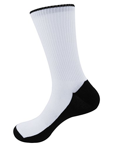 Blank Sublimation Socks/ SubReady Performance Crew Socks, White Blank Black Sole, 20x20cm, 4prs with Logo