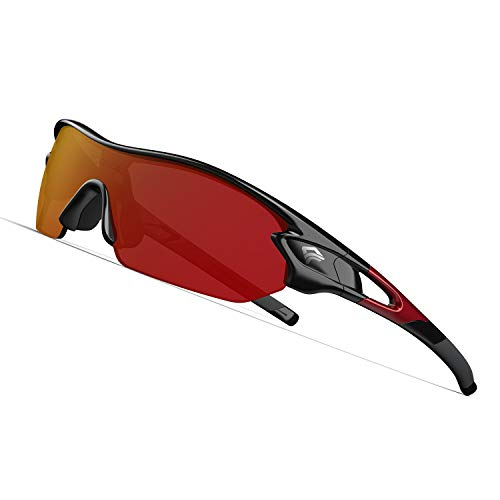 TOREGE Polarized Sports Sunglasses with 3 Interchangeable Lenes for Men Women Cycling Running Driving Fishing Golf Baseball Glasses TR002 Upgrade(Black Red &Red Lens) (Multi Lens Biking Glases)