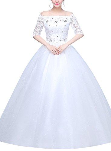 Ruiyige Off Shoulder One Half Sleeves Floor Length Back Bandage Wedding Dress White (Half Sleeve Floor)