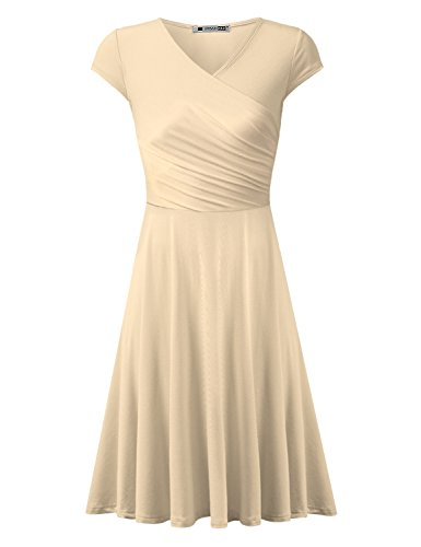 URBANCLEO Womens Cap Sleeve V Neck T-Shirt Tunic Mini Dress Beige (Plus Size T-shirt Cap)