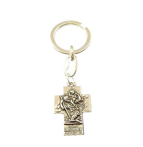 Plateado Metálico Cruz St. Christopher Llavero Llavero, Regalo Cristiano Católico Llavero