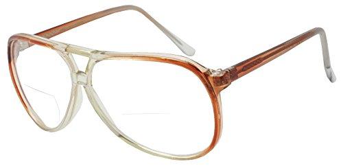 Fade Transparent 80s Vintage Tear Drop Aviator Reading Glasses Bi-Focal Rx Power +100 - +375 (Transparent Brown, - Glasses Reading Bifocal Aviator