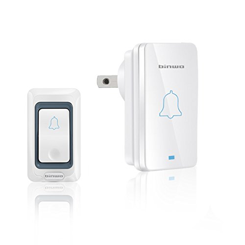 Wireless Doorbell, Binwo Waterproof Power-Saving Door Bell Kit, Operating within a Range of 1000 Feet, More Than 100,000 Presses Working Life, 4 Volume Levels with CE, FCC, RoHS - App Models Wish