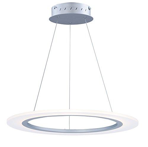 - ET2 E22653-11MS, Saturn II LED 1-Light Pendant, 1 Light, 24 Total Watts, LED, Matte Silver