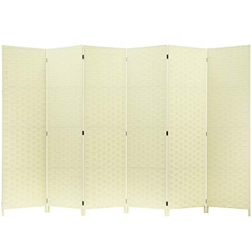MyGift 6 Panel Shabby Chic White Woven Seagrass Room Divider
