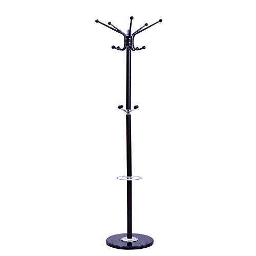 "Tenive Standing Rotating Metal Coat Rack Hat Rack Stand with Umbrella Holder,70"" 4-Level 14 Hooks Entryway Jack Purse Scarf Hat Hanger Hall Tree with Marble Base"
