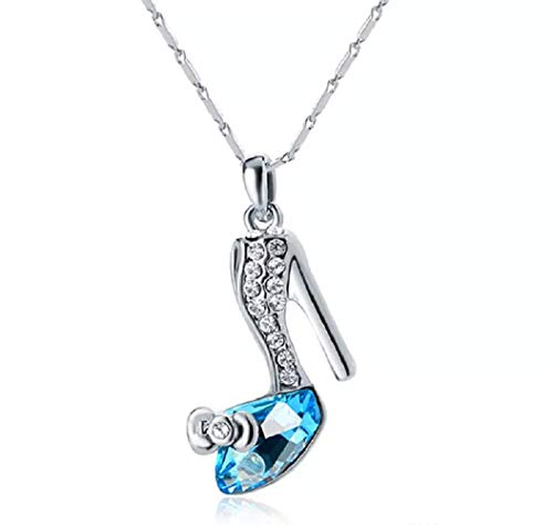 Yan n San Gifts Sparkling Glass Slipper Charm Pendant Necklace Fashion Jewelry - Aquarium Blue