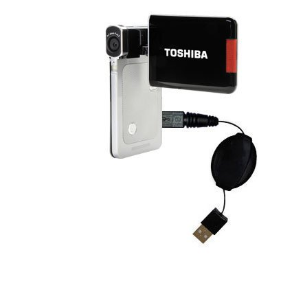 Compact and retractable USB Power Port Ready charge cable designed for the Toshiba Camileo S20 HD Camcorder and uses TipExchange