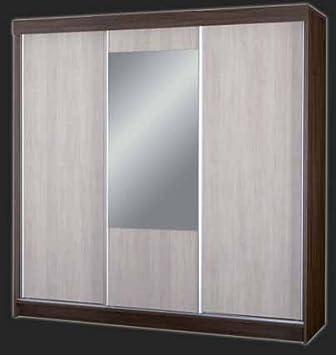 Ola Grandes Puertas correderas Armario con Espejo Armario con estantes para Colgar Ropa rieles Espejo Dormitorio Muebles: Amazon.es: Hogar