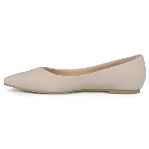 Journee Collection Mujeres Classic Pointed Toe Flats Taupe