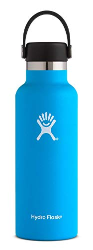 Hydro Flask 18 oz Water Bottle | Stainless Steel & Vacuum Insulated | Standard Mouth with Leak Proof Flex Cap | Pacific