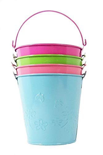 Set of 4 Painted Metal Pails - Size 5.5 inches