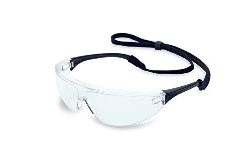 UVEX by Honeywell 11150755 Millennia Safety Eyewear Black Frame, Clear Lens with Fog-Ban Anti-Fog Coating ()