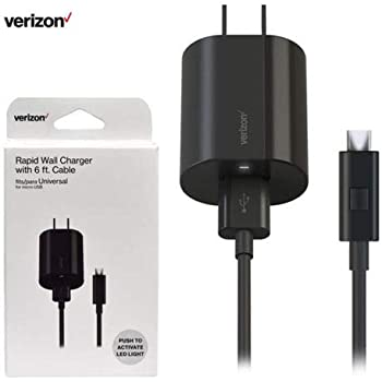 Verizon Micro USB Wall Charger with 6 ft. Cable and LED Light for Samsung Galaxy S7/S7 Edge/S6/S6 Edge/S5/Note 5/J7 V, LG K20/V10/Stylo 2 V, Nokia ...