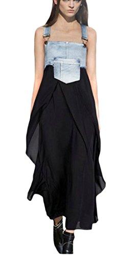 Summer Chiffon Cowboy Dress Womens Long Stitching Alion Loose Black Sleeveless Overall 5TgqWI