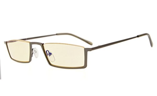 Eyekepper Quality Spring Hinges Half-Rim Computer Readers Reading Glasses (Yellow Lens, - Lense Yellow Glasses Benefits