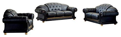Apolo Living Room Set in Black (Set Leather Sofa Italian)