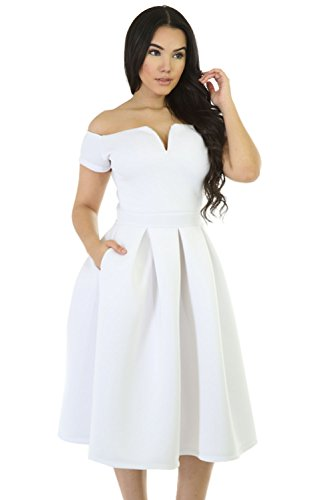 Lalagen Womens Vintage 1950s Party Cocktail Wedding Swing Midi Dress