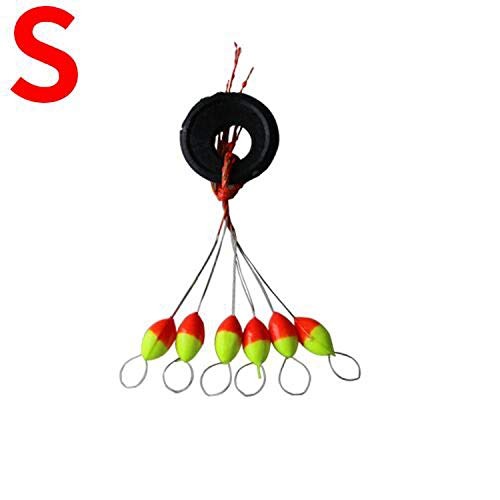 5Pack/30Pcs 6 in 1 Cylinder Space Beans Stopper for The Float Fishing Tackle Water Fishing Floats Bobber Sinker Light Stick L145,Red S