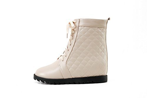 Imitated Platform Beige BalaMasa Boots Bandage Ladies Leather qwFTF