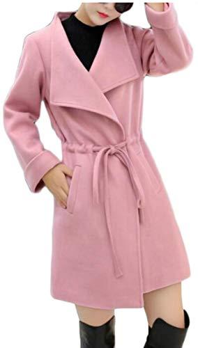 Outwear Coat EKU Wool Jacket Down Blend Collar Women's Pink Turn nPSOwq8v