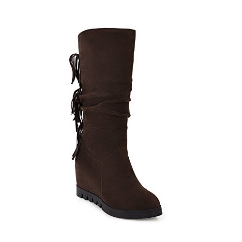 AN A&N Womens Boots High-Top Zip Chain-Strap Heeled Rubber Warm Lining Fringed Dance-Ballroom Outdoor Urethane Boots DKU01715 Brown ybGpv