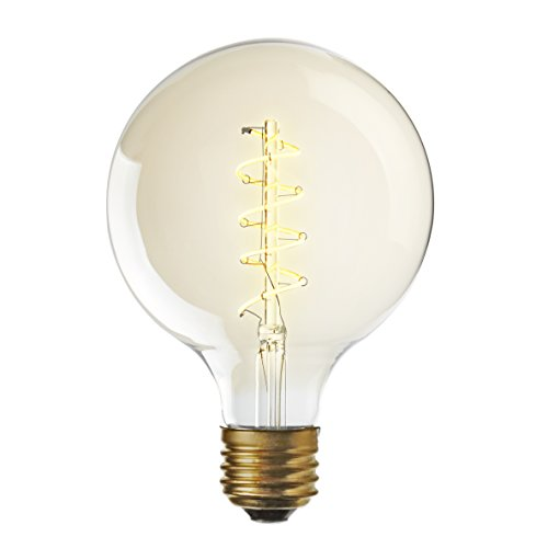 Spiral Filament Fully Dimmable 3W, 120V Edison Style Warm White E26 Standard Base, Brooklyn Bulb Co. RedHook Design (120 Volt Warm White Spiral)