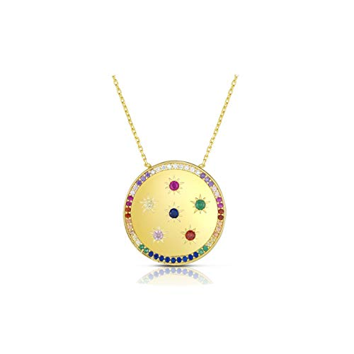 Rainbow Multi Colors Rainbow Round Disc Coin Statement Necklace Gold Color Vermeil Luxury Wedding Necklace Jewelry