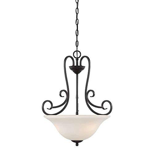 Hampton Bay 3-Light Satin Bronze Interior Inverted Pendant