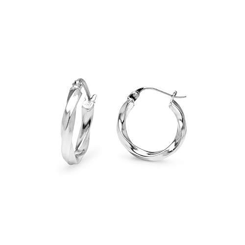 (Sea of Ice Sterling Silver 2mm Twist Tube Round Hoop Earrings, 15mm - 3/5