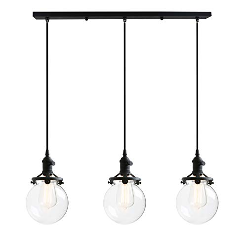 Phansthy Black Chandelier 3 Light Kitchen Pendant Hanging Lighting with 5.9 Inches Clear Glass Globe Canopy (Pendant Glass Light Rose)