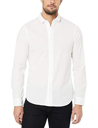 A|X Armani Exchange Men's Cotton Dobby Long Sleeve Button Down Shirt, White, S