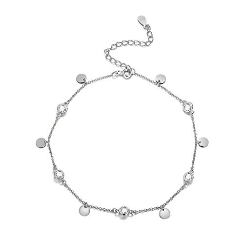 (AOBOCO 925 Sterling Silver Anklet for Women Girl Adjustable Ankle Bracelet Beach Foot Jewelry, Crystal from Swarovski)