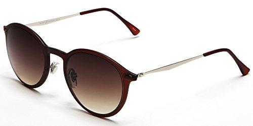 Samba Shades Modern Round Liz-LA Designer Sunglasses with Brown TR90 Frame, Stainlesss Steel Silver Arms, Brown Gradient - Subglasses Round