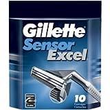 Gillette Sensor Men's Razor Blade Refills, 10 Count, Mens Razors / Blades