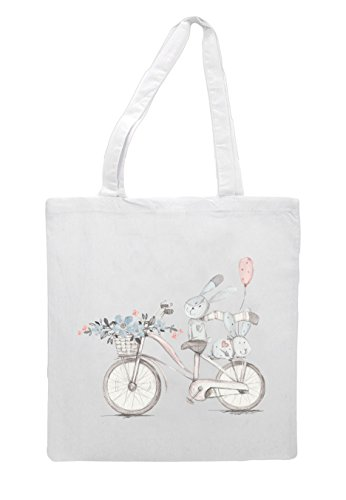 Bunnies Watercolour Ride Style Nine Shopper Cute Bicycle Bunny Tote White Vintage Bag 0gqZWR