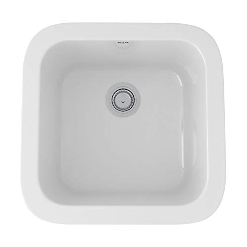 (Rohl 5927-00 FIRECLAY KITCHEN SINKS 17-7/8-Inch W by 17-1/2-Inch D by 9-Inch H White)