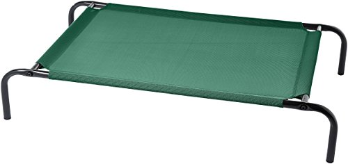 AmazonBasics Medium Elevated Cooling Pet Dog Cot Bed – 43 x 26 x 7.5 Inches, Green