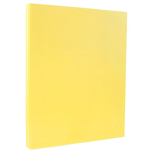 Yellow Vellum - JAM PAPER Vellum Bristol 110lb Index Cardstock - 8.5 x 11 Coverstock - Canary Yellow Vellum - 50 Sheets/Pack