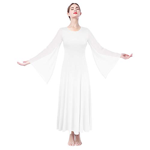 Praise Lyrical Dance Dress, Women Adult Prom Ballroom Dance Dresses Modern Smooth Waltz Party Swing Competition Dancewear Skirt Lady Christian Festivals Dancing Costumes Solo Dance White S
